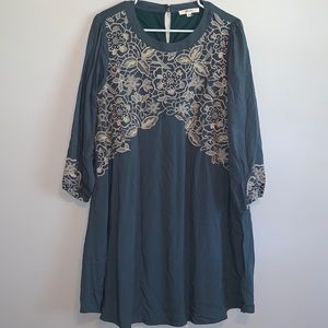 Women's Andree Dark Teal Cream Embroidered Dress
